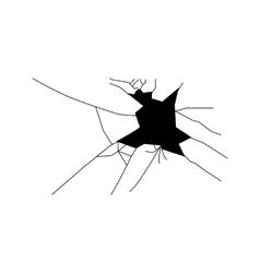 Broken glass silhouette vector image