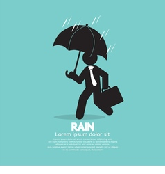 Businessman With Umbrella In The Rain vector image