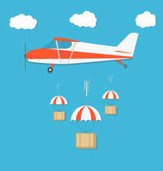 delivery airplane with parachute box packages on vector image vector image