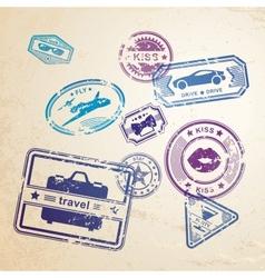 Grunge stamps design elements vector image vector image