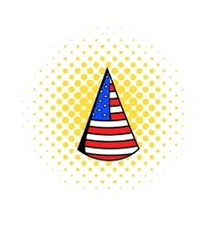 Party hat in the USA flag colors icon comics style vector image