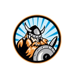Viking Raider Barbarian Warrior Retro vector image