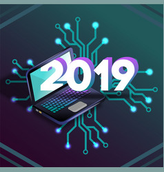 2019 it isometric laprop virtual relity vector image