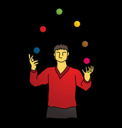 A man juggling balls while cycling graphic vector
