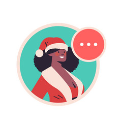 african american girl in santa claus costume woman vector image