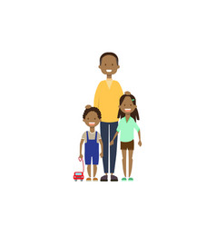 African father daughter son full length avatar on vector