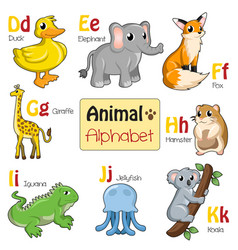 Alphabet animals from d to k vector