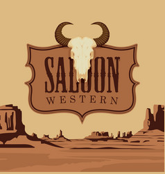 Banner for western saloon with a skull bull vector
