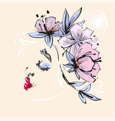 Beautiful girl profile with pink flowers spring vector