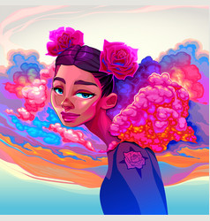 beautiful girl with clouds and roses in the hair vector image