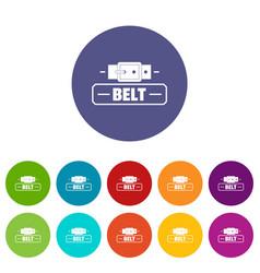 Belt fashion icons set color vector