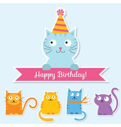 Birthday cat card vector