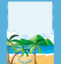 Border template with beach background vector