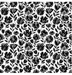 brush flower seamless pattern vector image