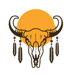 bull skull with feathers wild west vector image