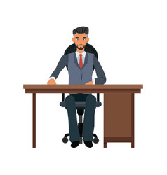 business man desk workspace sitting image vector image