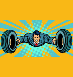 Businessman flying car tires service vector