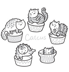 Cactus cats outline hand drawing coloring print vector