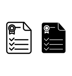 Certificate line and glyph icon diploma document vector