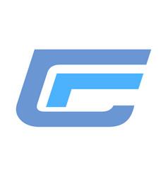 cf c f blue big font alphabet company letter logo vector image