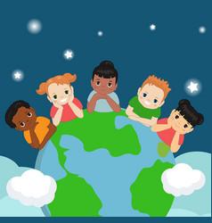 children around the earth children around the vector image
