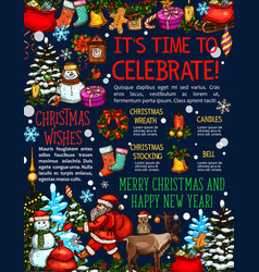 christmas new year sketch greeting card vector image