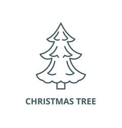 christmas tree line icon christmas tree vector image