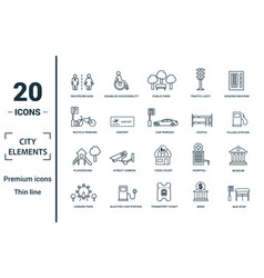 city elements icon set include creative elements vector image