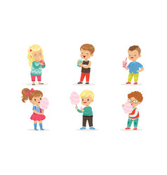 Collection cute happy boys and girls enjoying vector