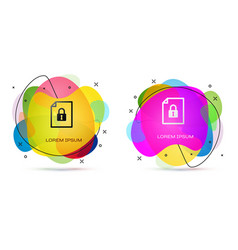 Color document and lock icon isolated on white vector