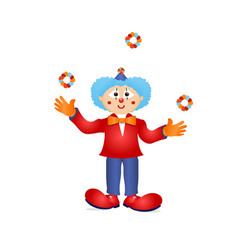 colorful clown circus costume character vector image