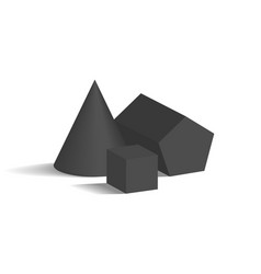 Cone pentagonal prism and cube 3d geometric shapes vector