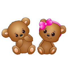 Cute couple with a teddy bear wearing a pink bow vector
