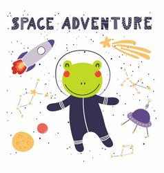 Cute frog in space vector