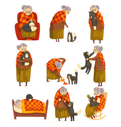 Cute granny and her black cat set lonely old lady vector