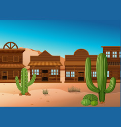 Desert scene with shops and cactus vector