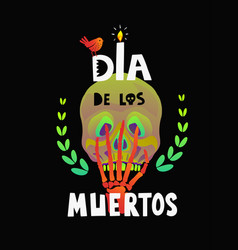 dia de los muertos skull on black background vector image