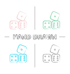 Dices hand drawn icons set vector