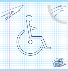 disabled handicap line sketch icon isolated on vector image