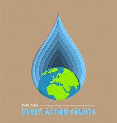 earth day water conservation paper cut art vector image