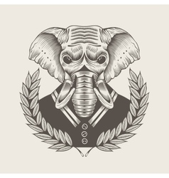 Elephant framed by laurel vector
