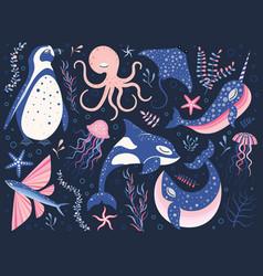 fairy tale northern ocean animals cartoon set vector image