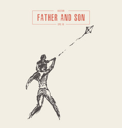 father son fly kite happy family sketch vector image