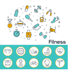 Fitness banner in flat style outline icons vector