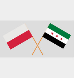 Flags of syrian national coalition and poland vector