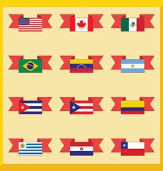 Flat flags north and south america vector image
