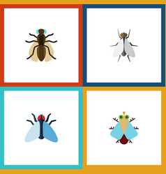 Flat icon housefly set of housefly tiny hum and vector