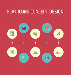 Flat icons carpet vacuuming towel laundry and vector
