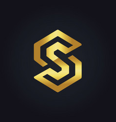 Gold circle letter s logo vector