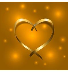 Gold silk ribbon heart Golden satin silhouette vector
